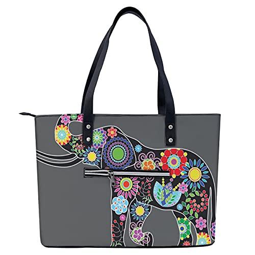 Bolso de mano de flores y elefantes coloridos, ligero, para ir de compras, gimnasio, senderismo, viajes, yoga, bolsa de hombro con bolsillos exteriores con cremallera