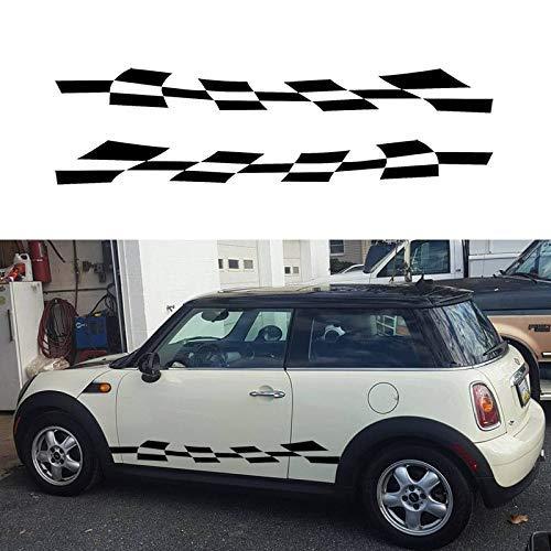 WYJW Auto Sticker 2x Vlag Tegel Plaid Auto Grafische Vinyl Truck Body Accessoires Zwart/Tape 165 * 16,7 cm, Whitecar Sticker Kleur: wit