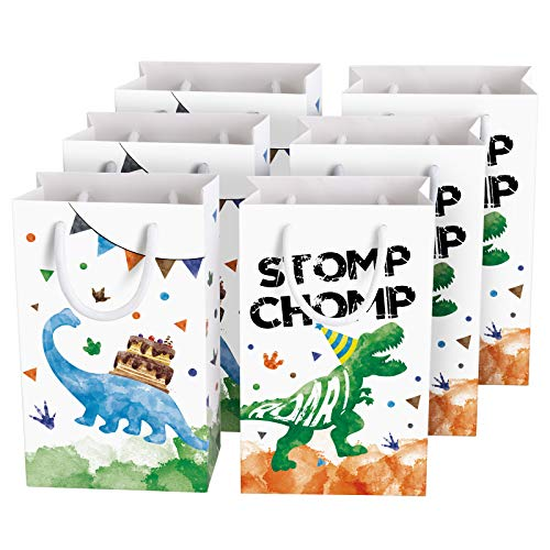 Watercolor Dinosaur Party Bags - 16 Pack Dinosaur Party Favor Bags for Boys Kids Dino Theme Party Supplies Candy Treat GoodiesGift Bags with Handle