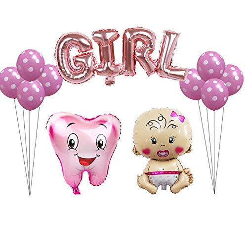 Yqs Luftballon 12pcs / Set rosa blau Zahn Foil Balloons Babymädchen Zahn Thema-Partei Luft aufblasbarer Globos Geburtstag (Color : Girl Set)