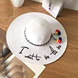 LHXMY Glamour Sombrero Bordado De Letras para Mujer Gran ala