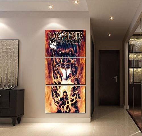 IILSZMT HD Art Cuadro De Pared 3 Partes Impresión Decoración Canvas Moderno Salón Decoración para Hogar Música Black Veil Brides