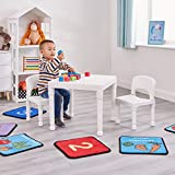 Liberty House Toys Children's Plastic Table and Chairs Set. Juego de Mesa Dos sillas, Blanco, 51cm H x 43.5cm W x 51cm D