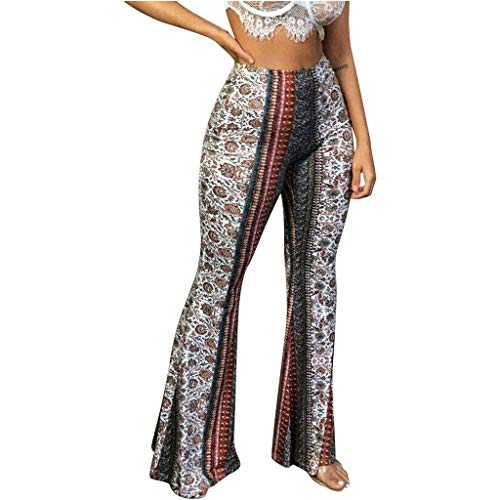 catmoew Yogahosen Damen Damen-Leggings mit hochelastischer, schmaler Schlaghose Die Freizeit der Mode-Frauen, die breite Bein-hohe Taillen-elastische Feste Gamaschen-Hosen druckt
