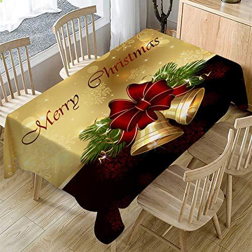 YUNSW Rote Festliche Weihnachtstischdecke, Antifouling- Und Ölbeständige Leinentischdecke, Weihnachtsessen Familienfeier Tischdekoration