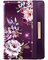 Passport Holder,RFID Blocking Passport Cover Cute Floral Traveling Passport Wallet for Women Purple Flowers.
