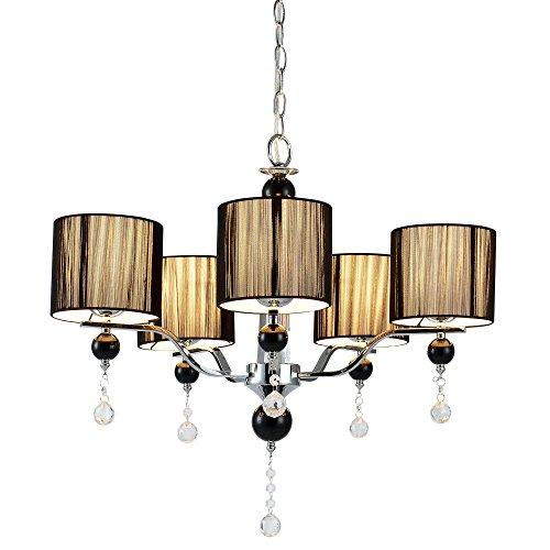 [lux.pro] Lámpara de araña (5 x E14 l)(52 cm x Ø: 64 cm) Lámpara de techo - de colgar- 5 brazos - cristal - negro - candelabro