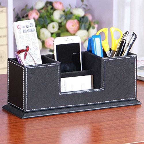 Ansimple ペン立て ペンスタンド 名刺入れ カードスタンド 収納ボックス 収納ケース 小物入れ 整理ボックス PUレザー オフィス用品 ホテル用品 多機能 インテリア 雑貨 (Cタイプ、ブラック)