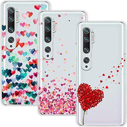 Young & Min Funda para Xiaomi Mi Note 10 / Note 10 Pro, (3 Pack) Transparente TPU Silicona Carcasa Delgado Antigolpes Resistente, Amor