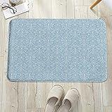 Alfombrilla de baño antideslizante, para baño o ducha,Azul claro, follaje antiguo, damasco barroco inspirado, delica, alfombra de suelo absorbente, para sala de estar, sofá, cojín, caucho, 60 x 100 cm