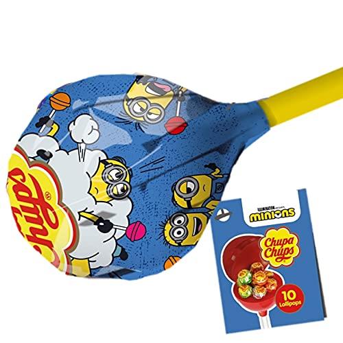 Chupa Chups Mega Chups, Limited Edition Minions, Lollipop Gigante Contenente 10 Lollipop Gusti Assortiti, Ottimo come Idea Regalo per Compleanni e Feste