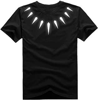 Zhengcos Black Shirt Cosplay Panther Necklace Short Sleeve T Shirt