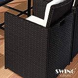 Swing & Harmonie Polyrattan Sitzgruppe Esstisch Lounge Sitzgarnitur Essgruppe Gartenmöbel Set - 2