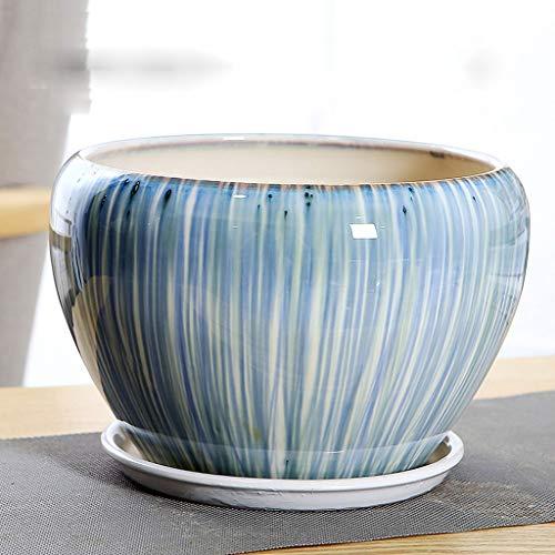 CJH gespleten riem lade keramische bloempot eenvoudig en gemakkelijk te matchen vloer bloempot blauwe groene stroom glazuur
