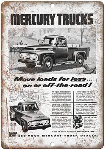 "FQDIQI of Mercury Trucks M-100 Automobile Ad 12"" x 8"" Retro Look Metal Sign"
