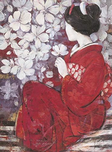 XIANRENGE 100% Pintura Al Óleo Pintada A Mano Pura Mujer De Japón Mujer Flores De Cerezo Cuerpo Humano Abstracto Imagen del Arte Sala De Estar Decoración para El Hogar 40×60Cm