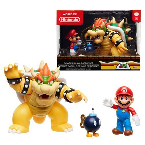 Nintendo Super Mario Bowser Vs Mario Diorama Figure 3 Pack