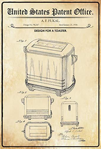Generisch Cartel de chapa con texto 'Patent für ein tostador', 20 x 30 cm
