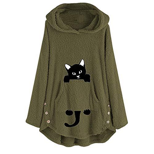 Yowablo Hoodie Stehkragen Pullover Kapuzenpullover Damen Langarm Pulli Kapuzenpulli Slim Fit Sweatshirt mit Kapuze (M,1- Armeegrün)