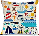 BONRI Fundas de almohada decorativas de poliéster, juego náutico con símbolo de barco de buceo a rayas, objeto de palma, pictograma, signos de turismo, símbolo cuadrado, 45 x 45 cm