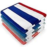 Kaufman - Multicolor Oversized Plush Premium Velour Texture Cabana Stripe Beach Towel 4-Pack, 32in x 62in, 100% USA Cotton.