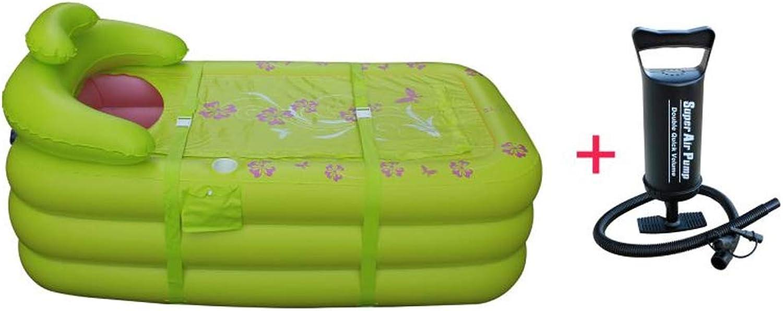 July bathtub Inflatable Bathtub Folding PVC Plastic Portable Adult Massage Bathtub, Spa SPA with Air Pump Double Bath Barrel (green)