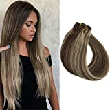 Blonde Highlighted Remy Human Hair Extensions Clip ins 70grams 22' Long Straight Dark Brown with Blonde Highlights Clip on Extensions