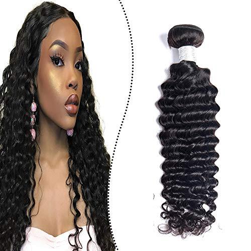 Ugeat Haartressen Echthaar zum Einnahen Ein Stuck 100 Gramm Weave on Extensions Naturliches Schwarz 35cm Remy Brasilianische Bundles Deep Curly