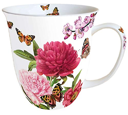 Ambiente Becher Mug Tasse Tee/Kaffee Becher ca. 0,4L Floral Peonien White