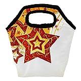 Bolsa térmica para el almuerzo, diseño de estrellas, color rojo y amarillo