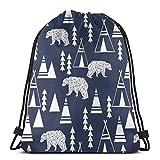 BXBX Plegable Bags Navy Teepee Forest Boys Girls Teenager Drawstring Bag Full Printing Drawstring Backpack School