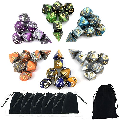 SmartDealsPro 6 x 7 Sets(42 Pieces) Double Colors Polyhedral Dice Set with Pouches for Dungeons and Dragons DND RPG MTG Table Games D4 D6 D8 D10 D12 D20 (6-Colors Set 2)
