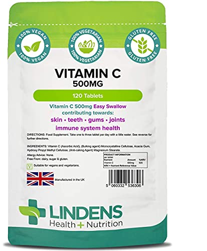 Lindens Vitamin C 500mg (Easy Swallow) Tablets - 120 Pack - 625% Nrv Dose Contributes to Normal Immune System Health, Skin, Teeth, Gums & Joints - UK Manufacturer, Letterbox Friendly