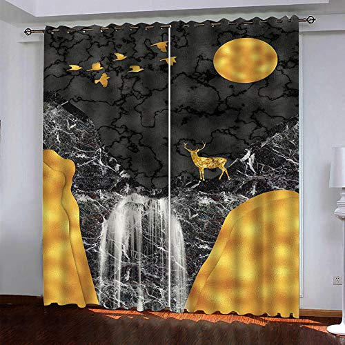 DRFQSK Cortinas Termicas Aislantes Frio Y Calor, Cortinas Opacas para Salon 3D Paisaje De Cascada Abstracto Cortinas para Ventanas Dormitorio con Ojales, 2 Piezas 140 X 260 Cm(An X Al)