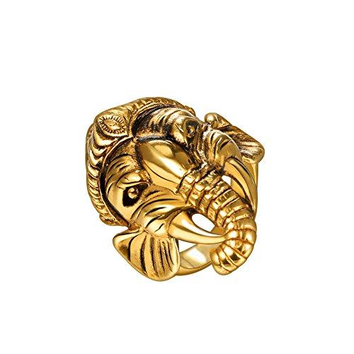 U7 Vintage Ring 18K Gold Plated God of Fortune Thailand Ganesha Buddha Elephant Ring, Size 11