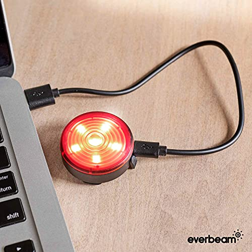 Everbeam E200 LED Bicycle Lights Front and Rear Rechargeable   Powerful Waterproof Safety Clip On LED Light Set, For Runners, Cycling, Dog Walking, Kayaking - Includes Straps For Wearing - 2 Pack, Red