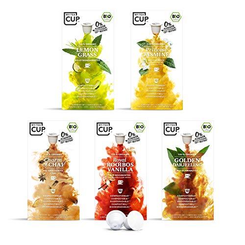 My Tea Cup – ORIENT EXPRESS BOX: 5 x 10 KAPSELN BIO-TEE I 5 SORTEN À 10 KAPSELN BIO-TEE I 50 Kapseln für Nespresso®³-Kapselmaschinen I 100% industriell kompostierbare & nachhaltige Teekapseln – 0% Alu