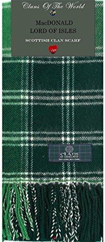 I Luv Ltd MacDonald Lord of the Isles Modern Tartan Clan Scarf 100% Soft Lambswool