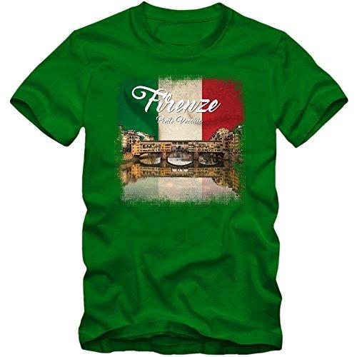 Ponte Vecchio T-Shirt | Italien | Herren | Florenz | Wahrzeichen | Arno | Denkmal, Farbe:Hellgrün (Kelly Green L190);Größe:XL