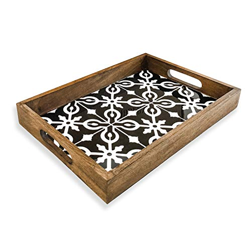 UPMODERN Coffee Table Tray- Housewarming Gift Decorative Trays for Coffee Table Acrylic and Wooden Serving Tray