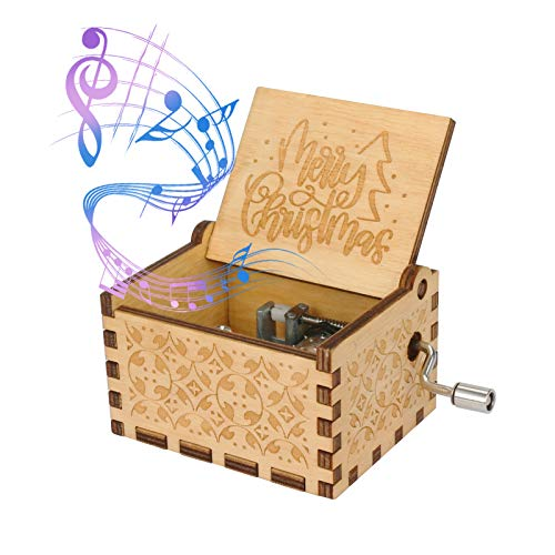Color You Christmas Music Box Hand Cranked Music Box Engraved Vintage Wooden Music Box Portable MusicBoxes for Boys, Girls, Men and Women Ideal Gift for Christmas and New Year