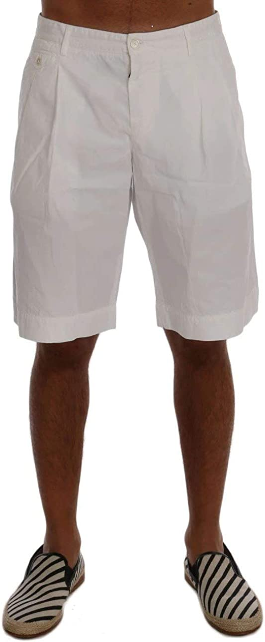 Dolce & Gabbana Men's Army Green Cotton Crown 'Corona' Pleated Front Shorts