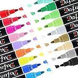 Dafunna Rotuladores Permanentes de 18 Colores Brillantes-Marcadores de Pintura Acrílica, Rotuladores para Tela,Bricolaje, Cerámica, Vidrio, Lienzo