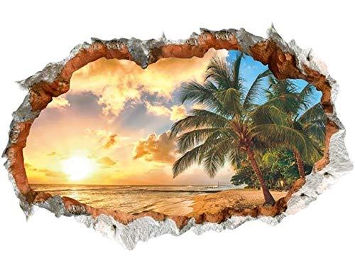 WandSticker4U®- 3D Wandtattoo SONNENUNTERGANG I Waldbild: 60x90 cm I Wandsticker Meer Strand Palm Insel Karibik Poster Fensterblick I Wand Deko für Wohnzimmer Schlafzimmer Küche Türaufkleber