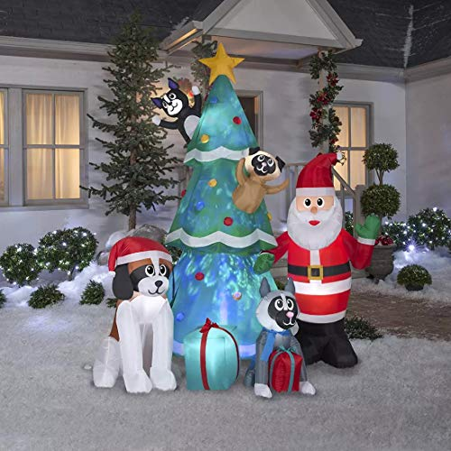 Gemmy 9.5.Ft. Christmas Inflatable Airblown Santa and Dog Helpers with Kaleidoscope Christmas Tree and Presents Indoor/Outdoor Holiday Decoration