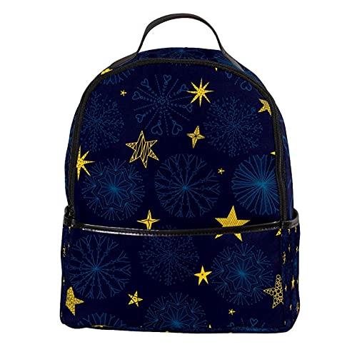 AITAI Mochila de piel sintética azul oscuro Boho flor estrellas patrón al aire libre escuela universidad Bookbag fit mochila