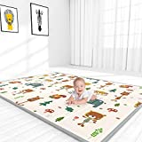 YOOVEE Baby Play Mat, Large Folding Portable Baby Crawling Mat, Waterproof Non Toxic Soft Foam Reversible Double-Sided Baby Floor Mat for Infants Toddler and Kids, 76' x 57' x 0.4'