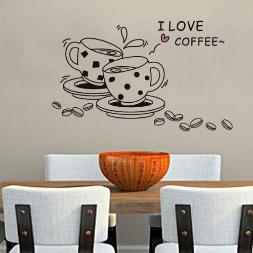 nabati J?aime le café, tasses et graines de café sticker mural