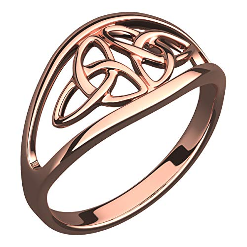 GWG Women's Rings Gift 18K Rose Gold Plated Sterling Silver Ring with Celtic Triquetra Cross of Doubled Trinity Knot - 7 for Women