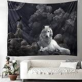 Indisch Mandala Weiß Wolf Felsen Schwarz Krähe Mondlicht Kunstwerk Wandbehang Tapisserie Tier Wandteppich Schlafzimmer Hintergrundtuch Hippie Strandwurf